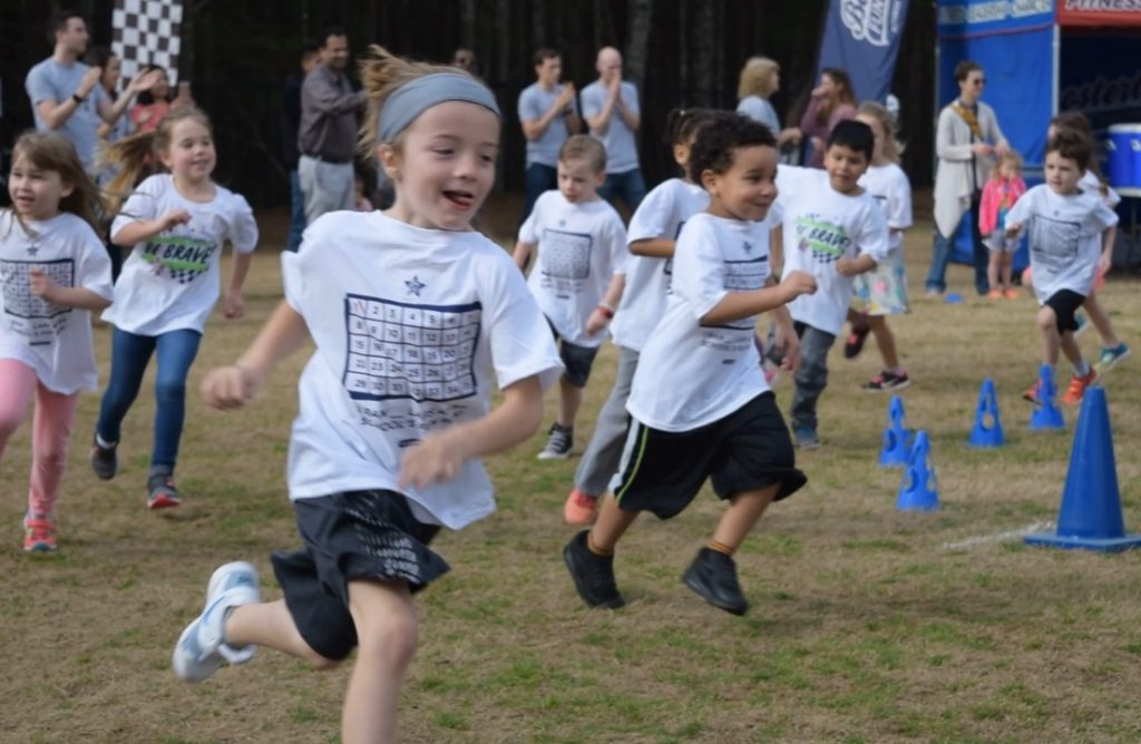 Another snapshot of kids focused on their Boosterthon fun run event.