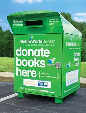 A better world books donations dropbox makes it easy to donate books.