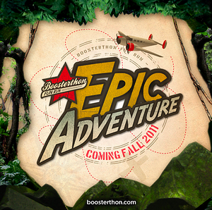 Boosterthon's Epic Adventure video title features an old timey map and airplane.