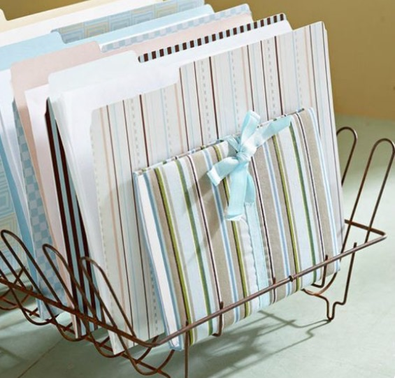 A gifted rack of documents.