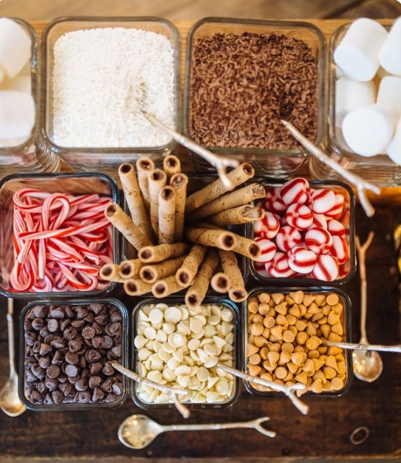 Ice Cream toppings bar.