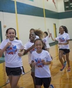 Students enjoy an indoor funrun!