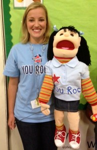 Sunny is Mrs. McMahon's classroom puppet