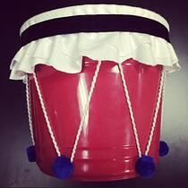 A DIY drum made from everyday materials around the home.