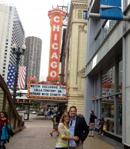 Boosterthon Chicago City leader Jason Hood and his wife posed in front of Chicago theater.