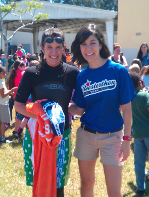 A Boosterthon team member poses with Miss Groth, who volunteered for the dunking tank.
