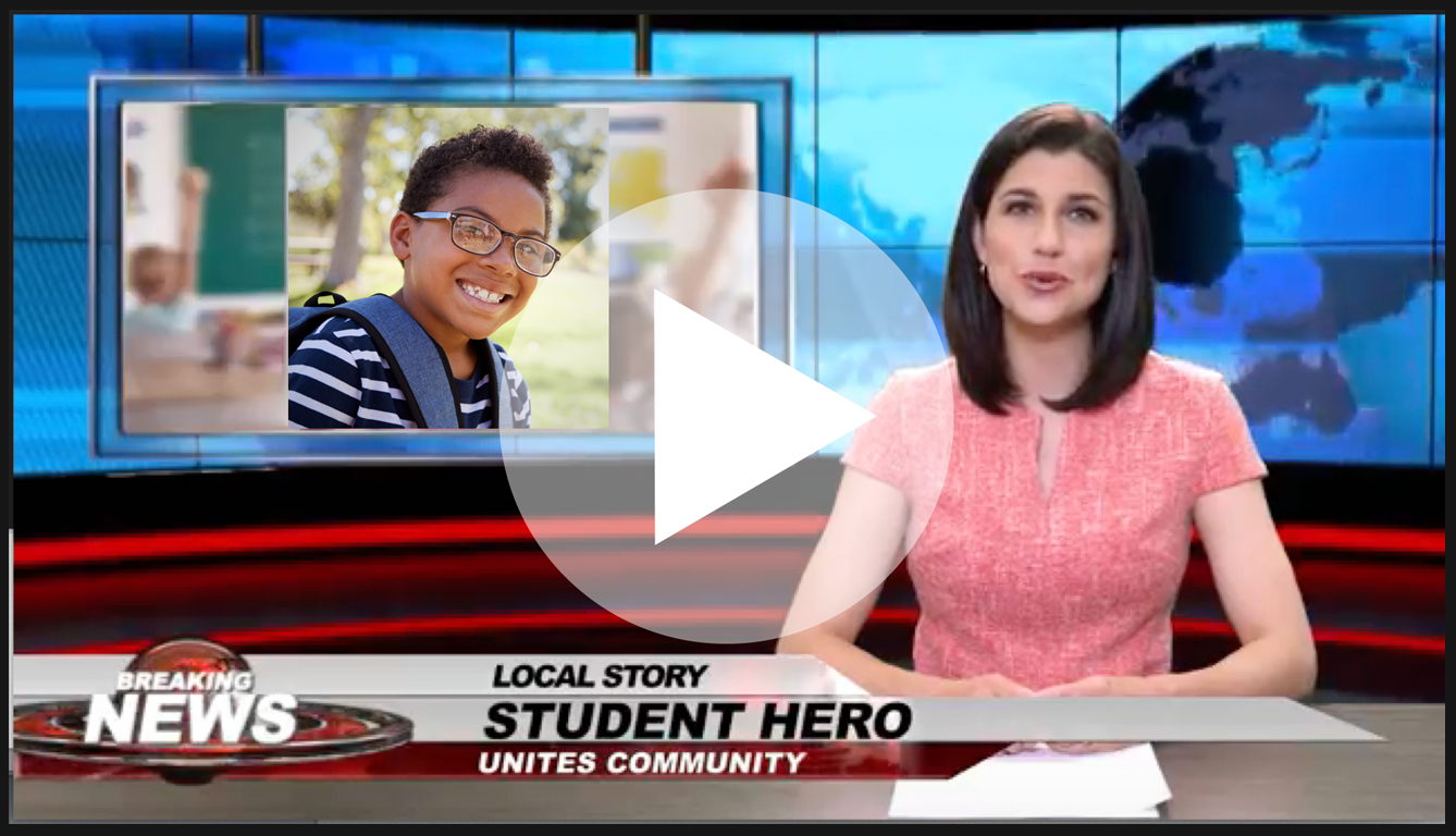 Boosterthon's fun news broadcast highlights a Student Hero.