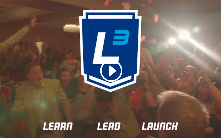 The L3 Logo - learn, lead, launch.