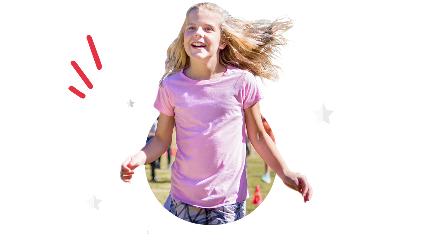 Girl smiling while running